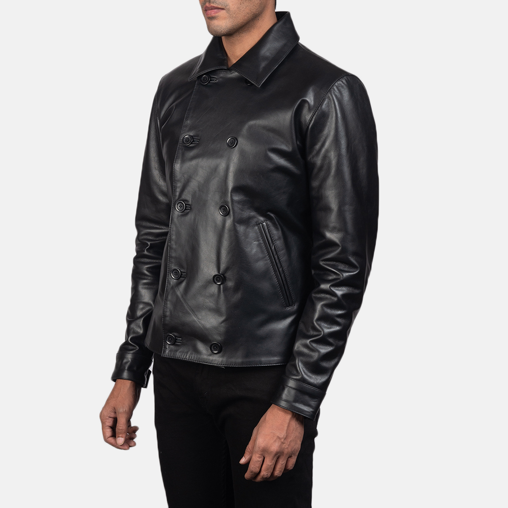 Men's Mod Black Leather Peacoat 3