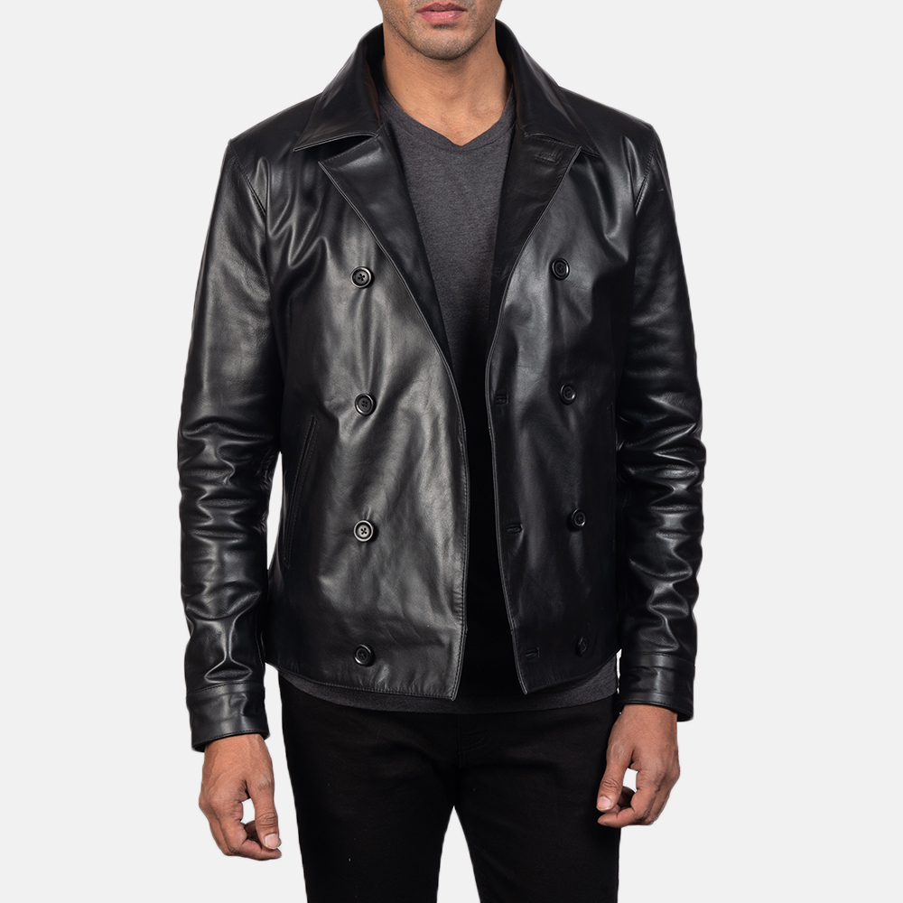 Men's Mod Black Leather Peacoat 4
