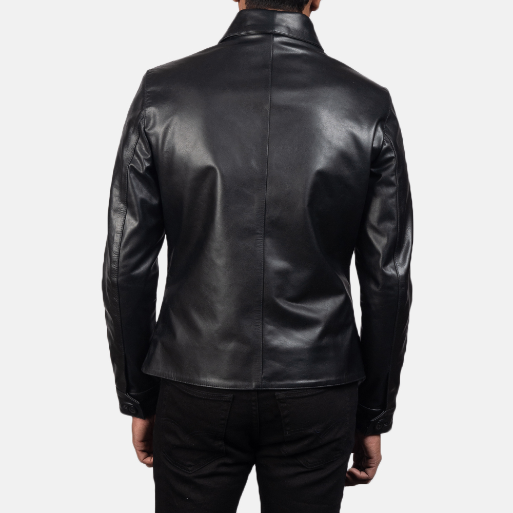 Men's Mod Black Leather Peacoat 5