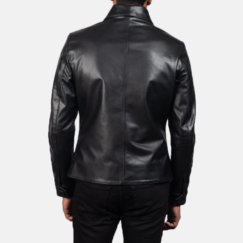 Men's Mod Black Leather Peacoat 5
