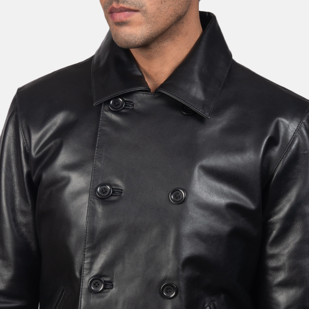 Men's Mod Black Leather Peacoat 6