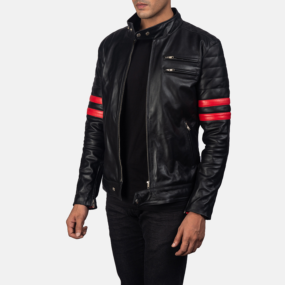 Mens Monza Black & Red Leather Biker Jacket 2