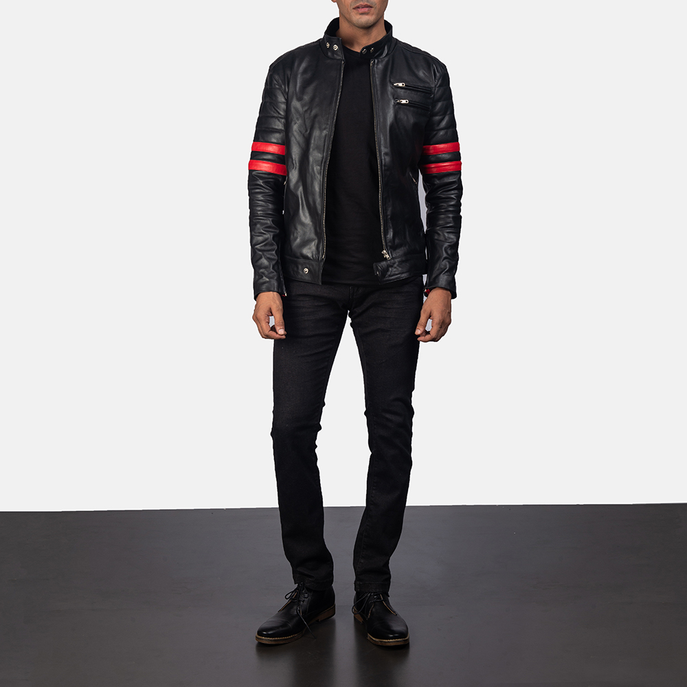 Mens Monza Black & Red Leather Biker Jacket 5