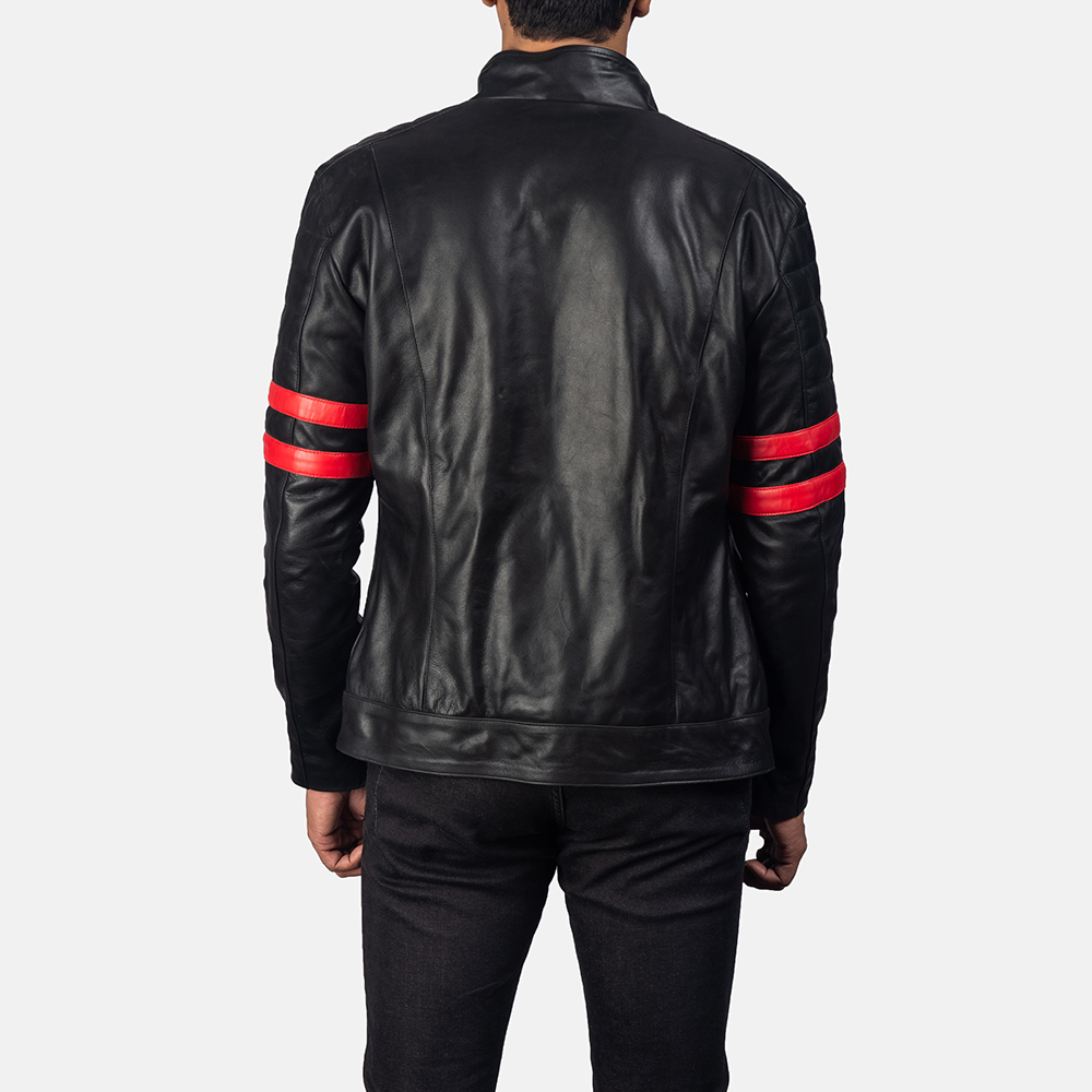 Mens Monza Black & Red Leather Biker Jacket 4