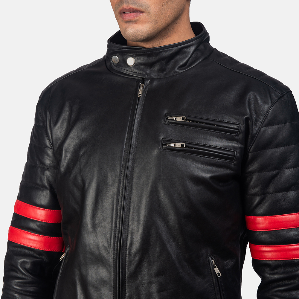 Mens Monza Black & Red Leather Biker Jacket 6