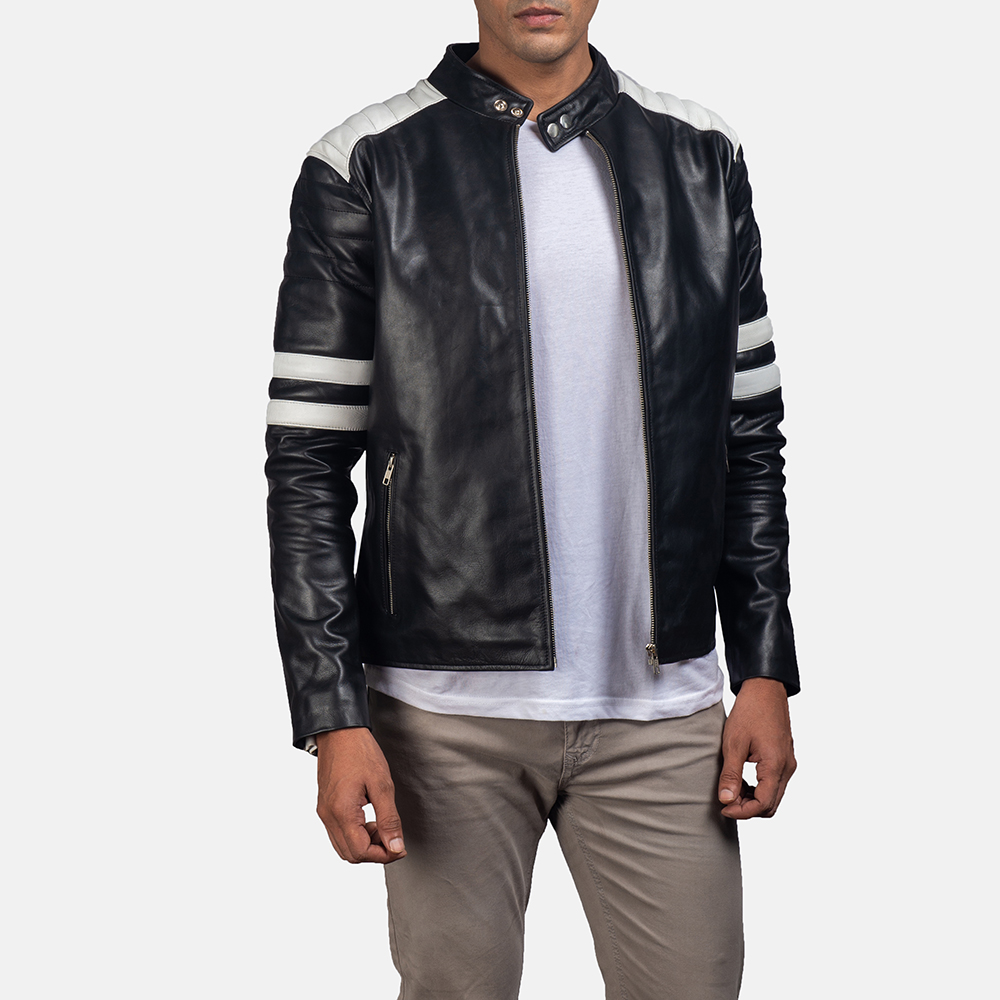 Mens Monza Black & White Leather Biker Jacket 1
