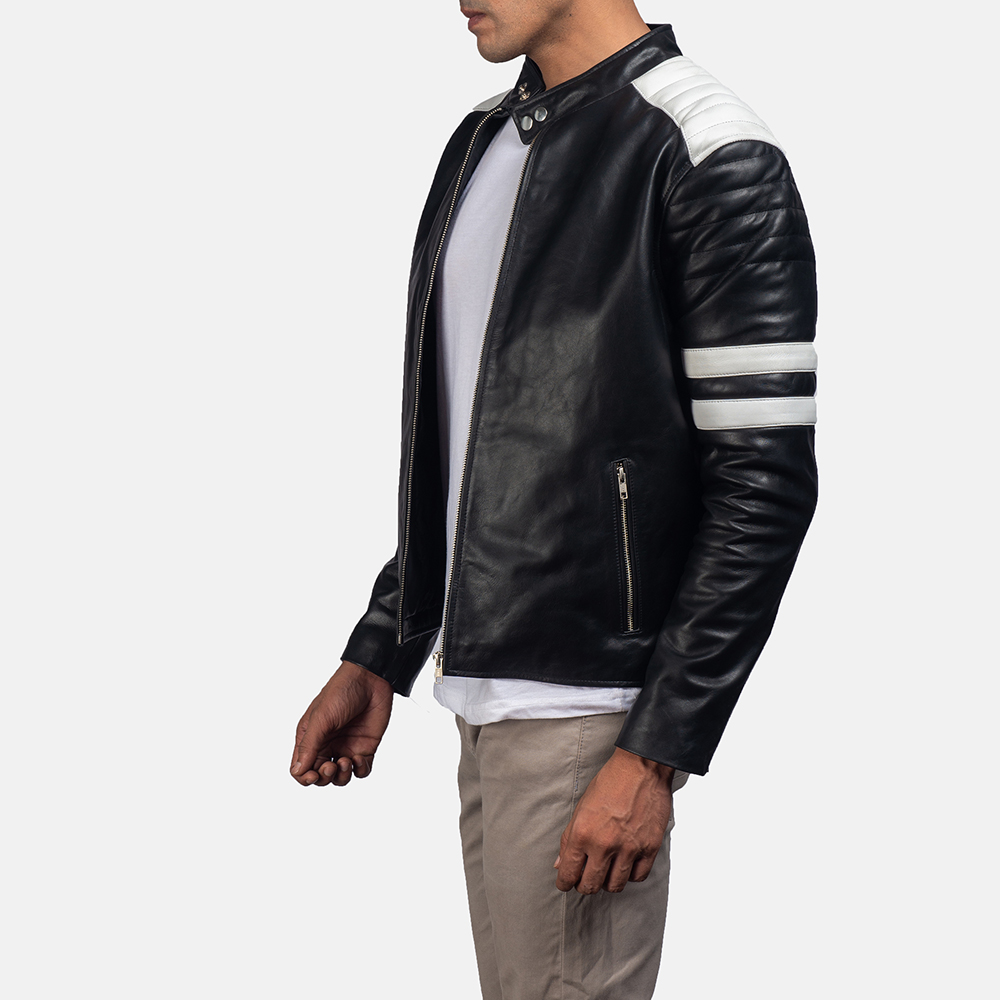Mens Monza Black & White Leather Biker Jacket 2