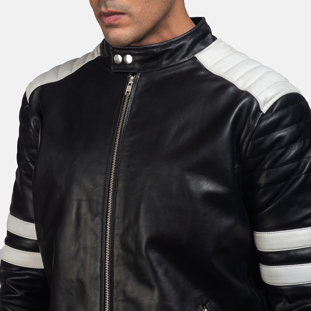 Mens Monza Black & White Leather Biker Jacket 6