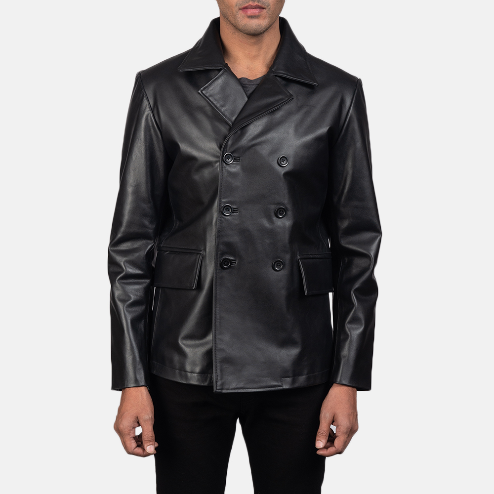 Men's Mr. Bailey Black Leather Naval Peacoat 2
