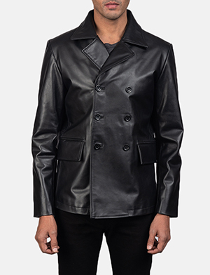 Men's Mr. Bailey Black Leather Naval Peacoat
