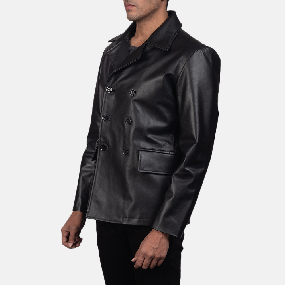 Men's Mr. Bailey Black Leather Naval Peacoat 3