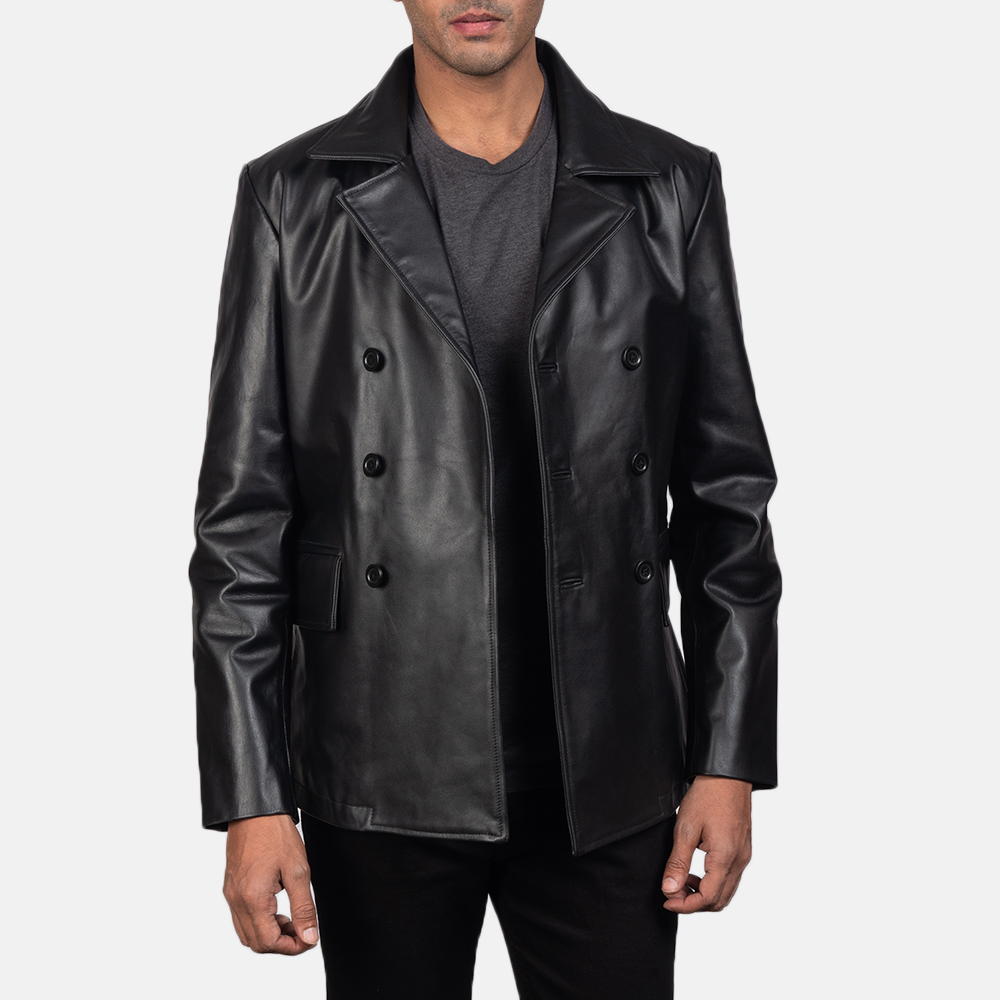 Men's Mr. Bailey Black Leather Naval Peacoat 4