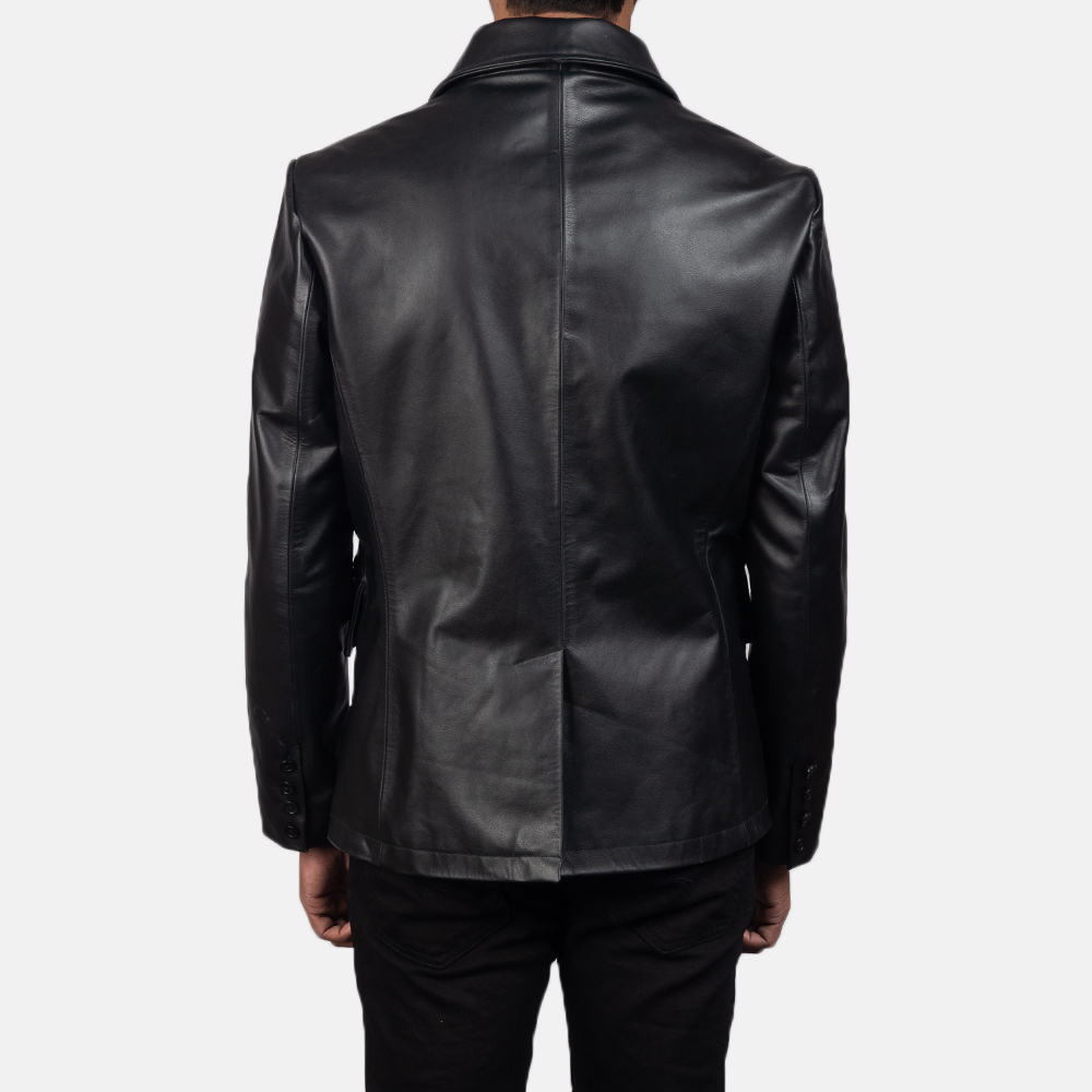 Men's Mr. Bailey Black Leather Naval Peacoat 5