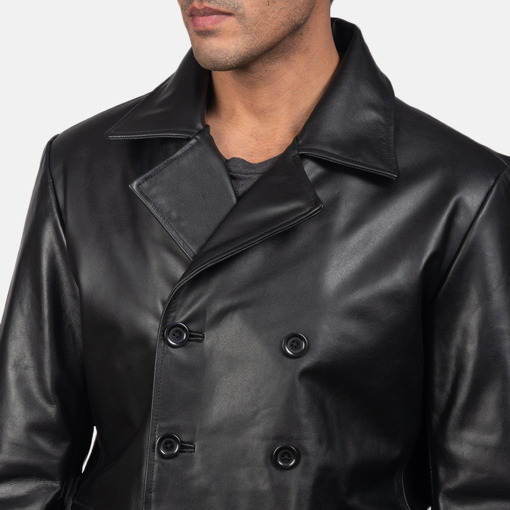 Men's Mr. Bailey Black Leather Naval Peacoat 6