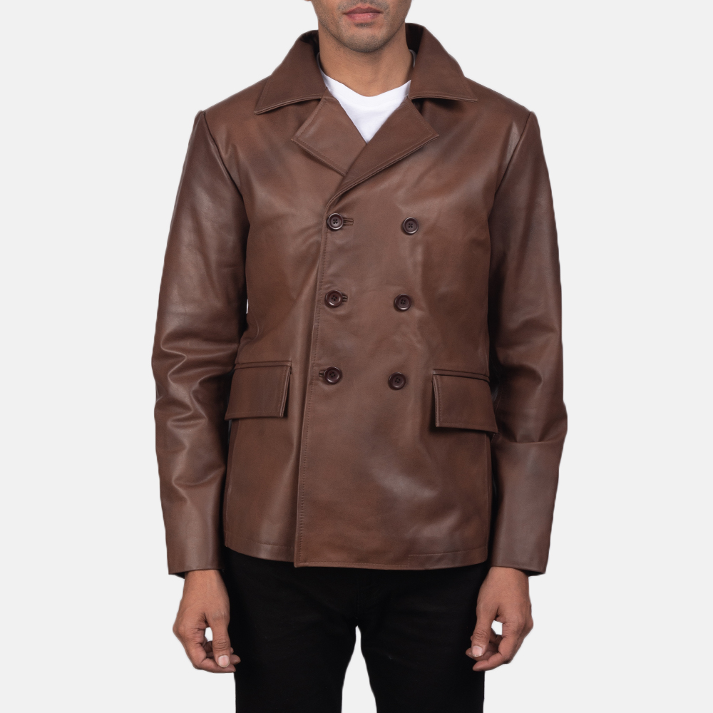 Men's Mr. Bailey Brown Leather Naval Peacoat 2