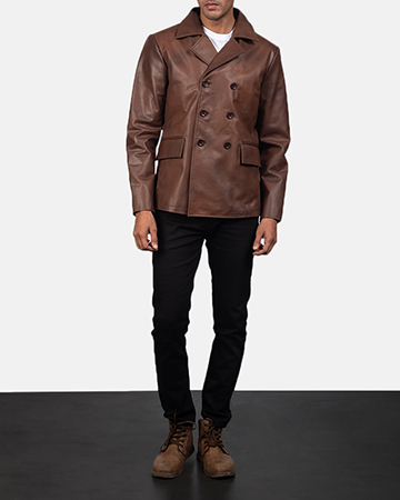 Men's Mr. Bailey Brown Leather Naval Peacoat 1