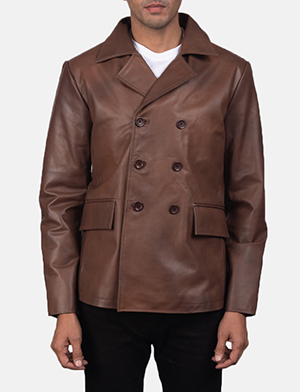 Men's Mr. Bailey Brown Leather Naval Peacoat