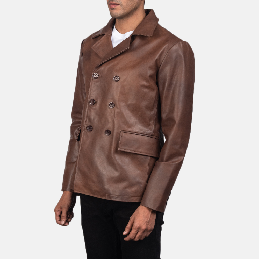 Men's Mr. Bailey Brown Leather Naval Peacoat 3