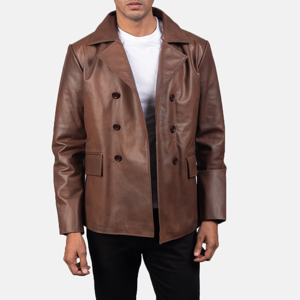 Men's Mr. Bailey Brown Leather Naval Peacoat 4