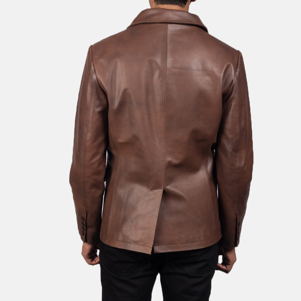 Men's Mr. Bailey Brown Leather Naval Peacoat 5