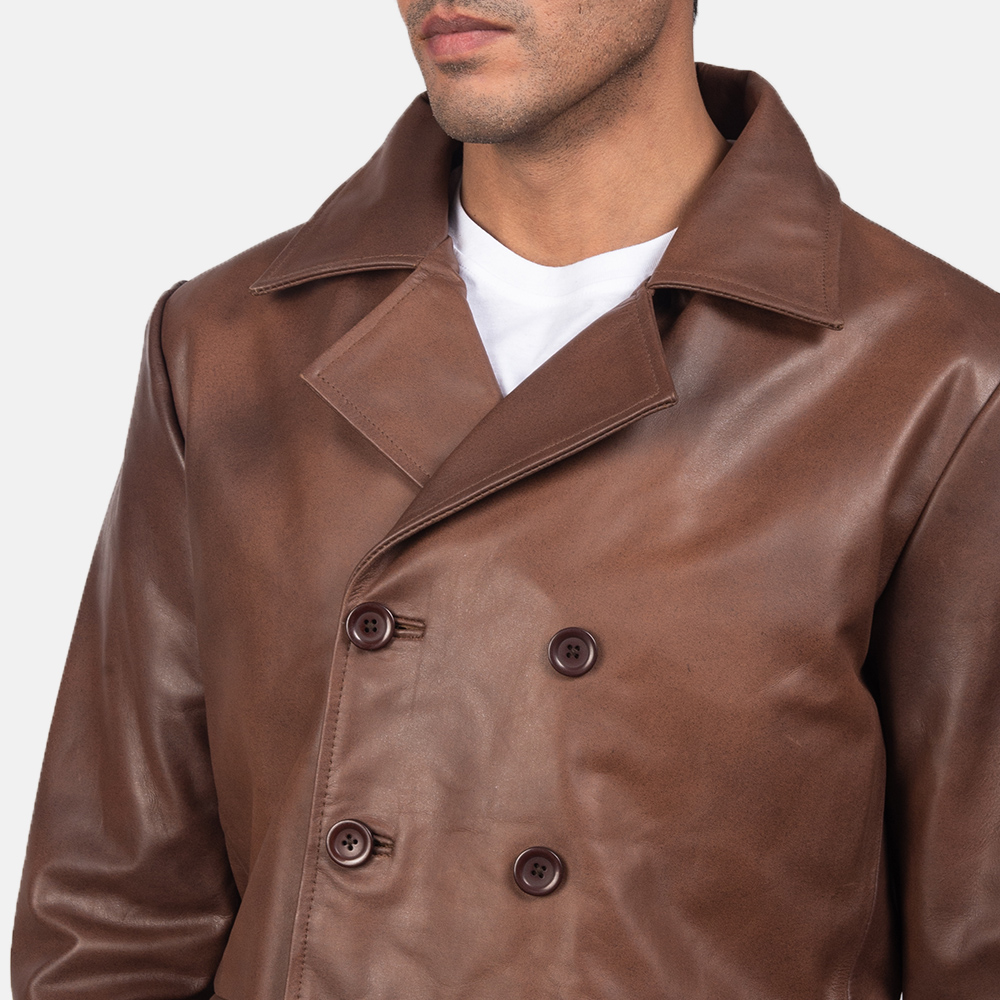 Men's Mr. Bailey Brown Leather Naval Peacoat 6