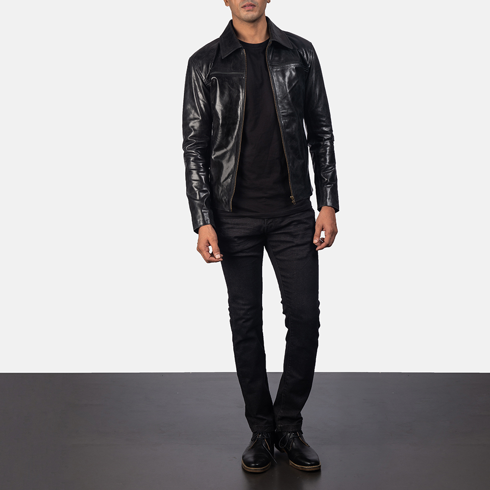 Mens Mystical Black Leather Jacket 5