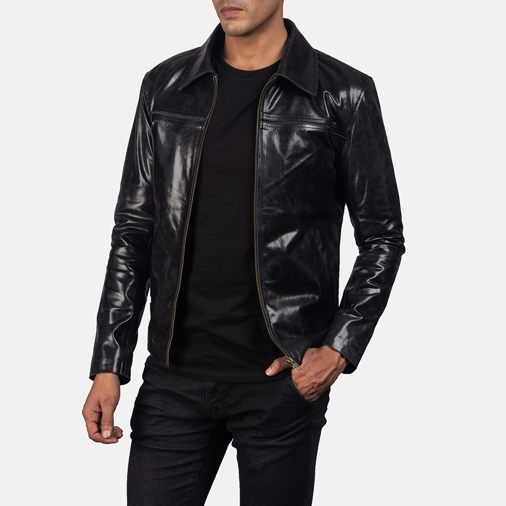 Mens Mystical Black Leather Jacket 2