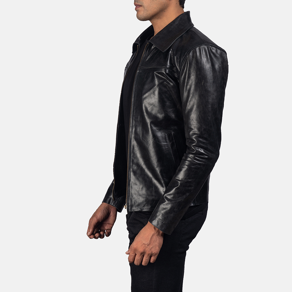 Mens Mystical Black Leather Jacket 3