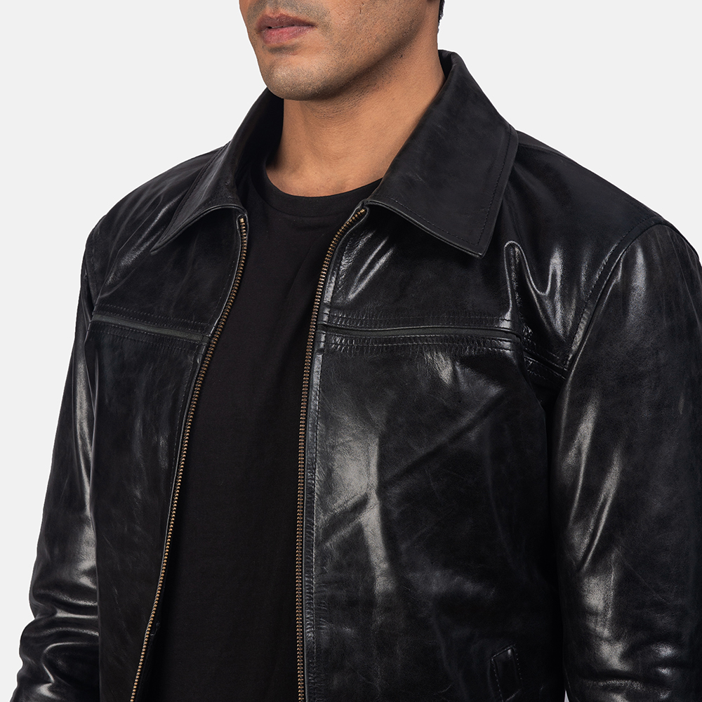 Mens Mystical Black Leather Jacket 6