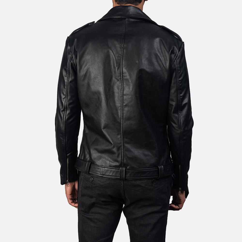 Men's Noah Black Leather Biker Jacket 4