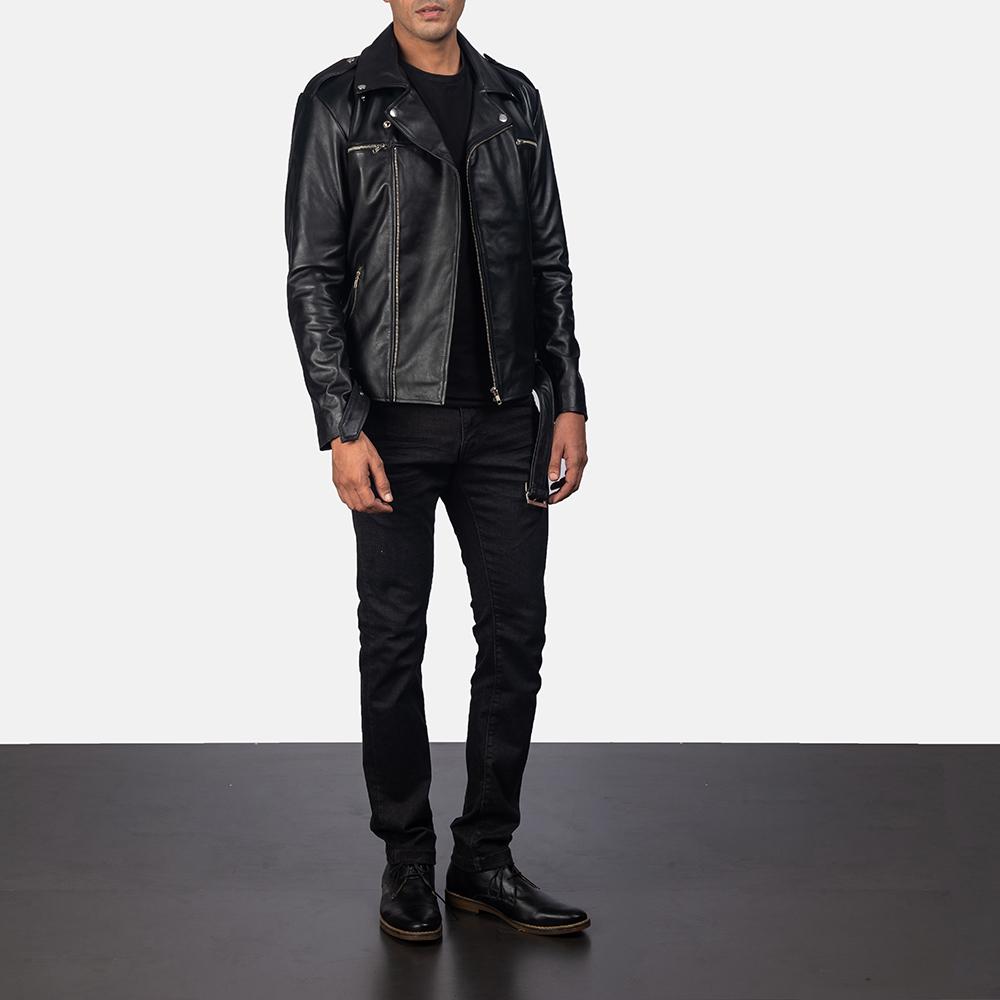 Men's Noah Black Leather Biker Jacket 5