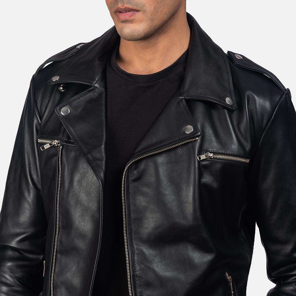 Men's Noah Black Leather Biker Jacket 6