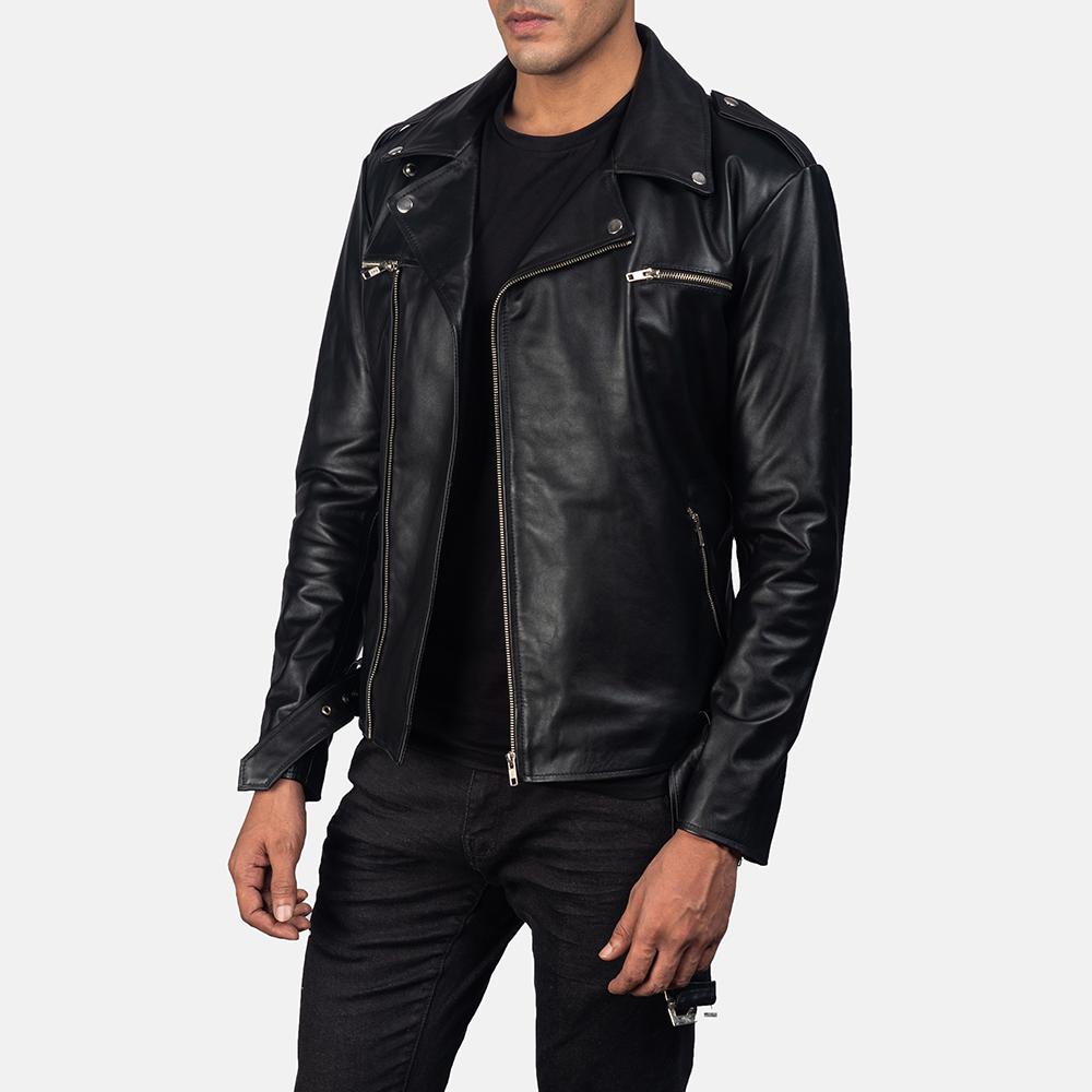 Men's Noah Black Leather Biker Jacket 2