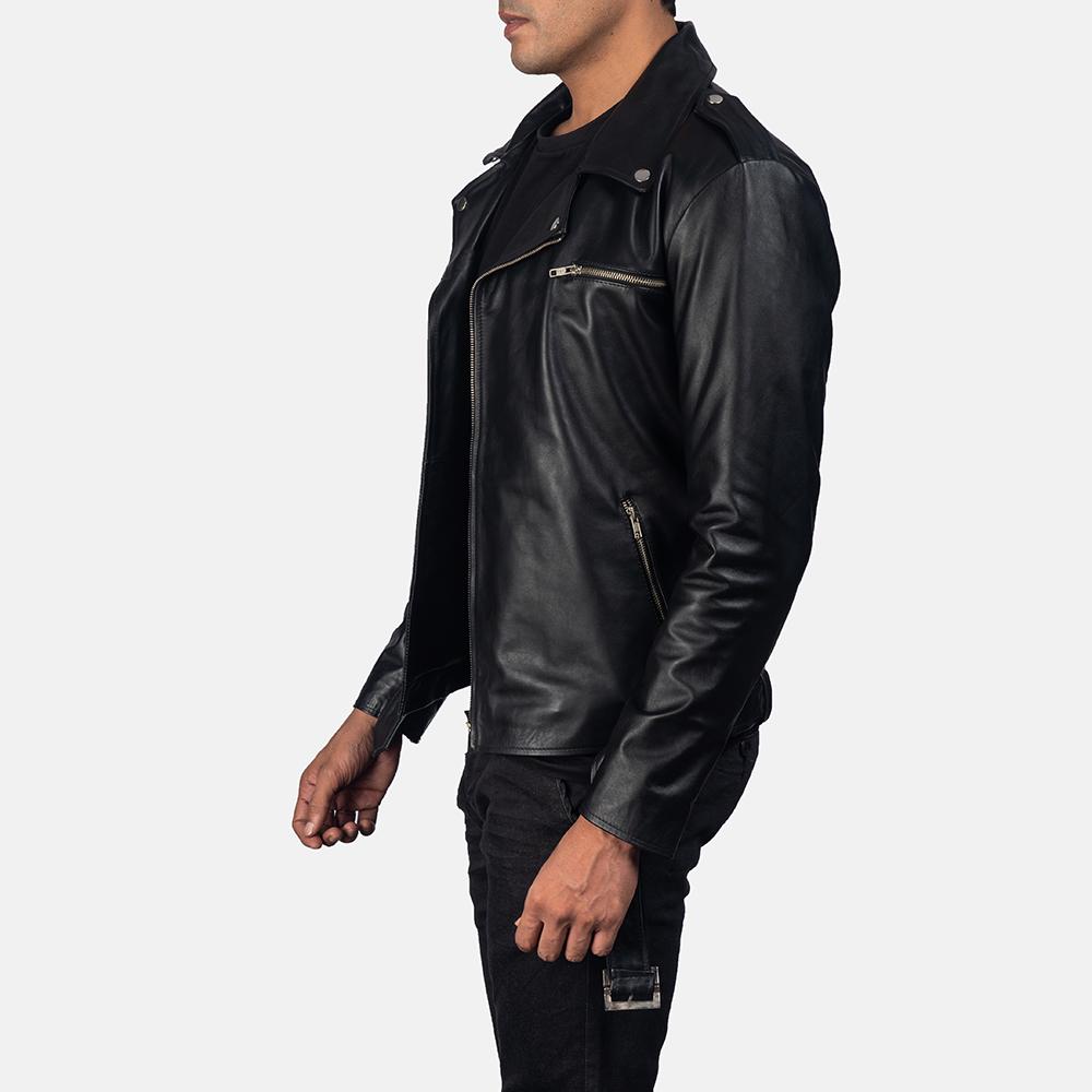 Men's Noah Black Leather Biker Jacket 3