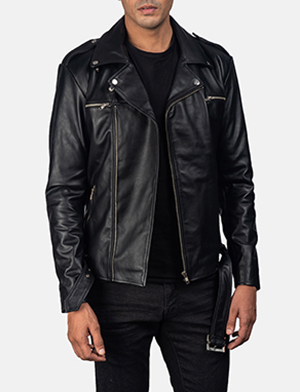 Noah Black Leather Biker Jacket