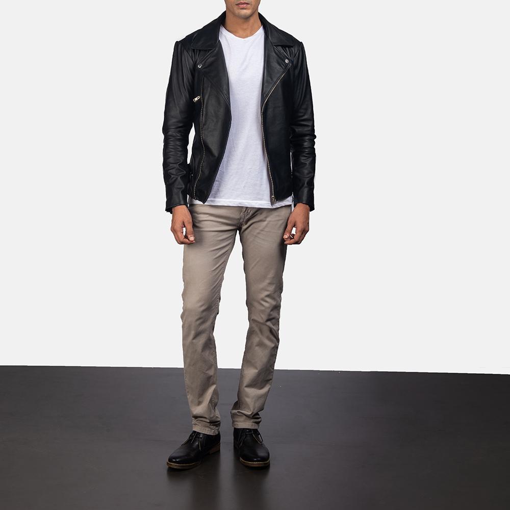 Mens Outlaw Black Leather Biker Jacket 5