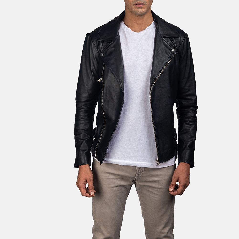 Mens Outlaw Black Leather Biker Jacket 1