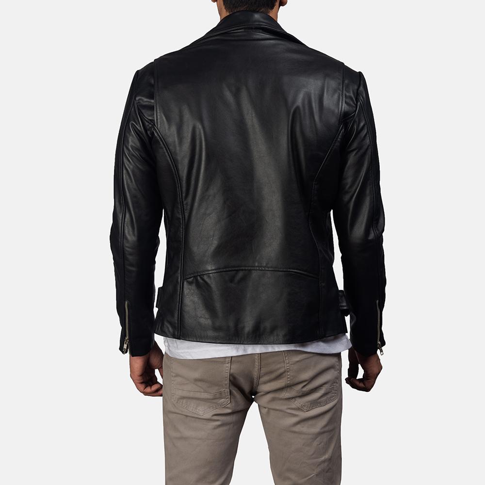 Mens Outlaw Black Leather Biker Jacket 4