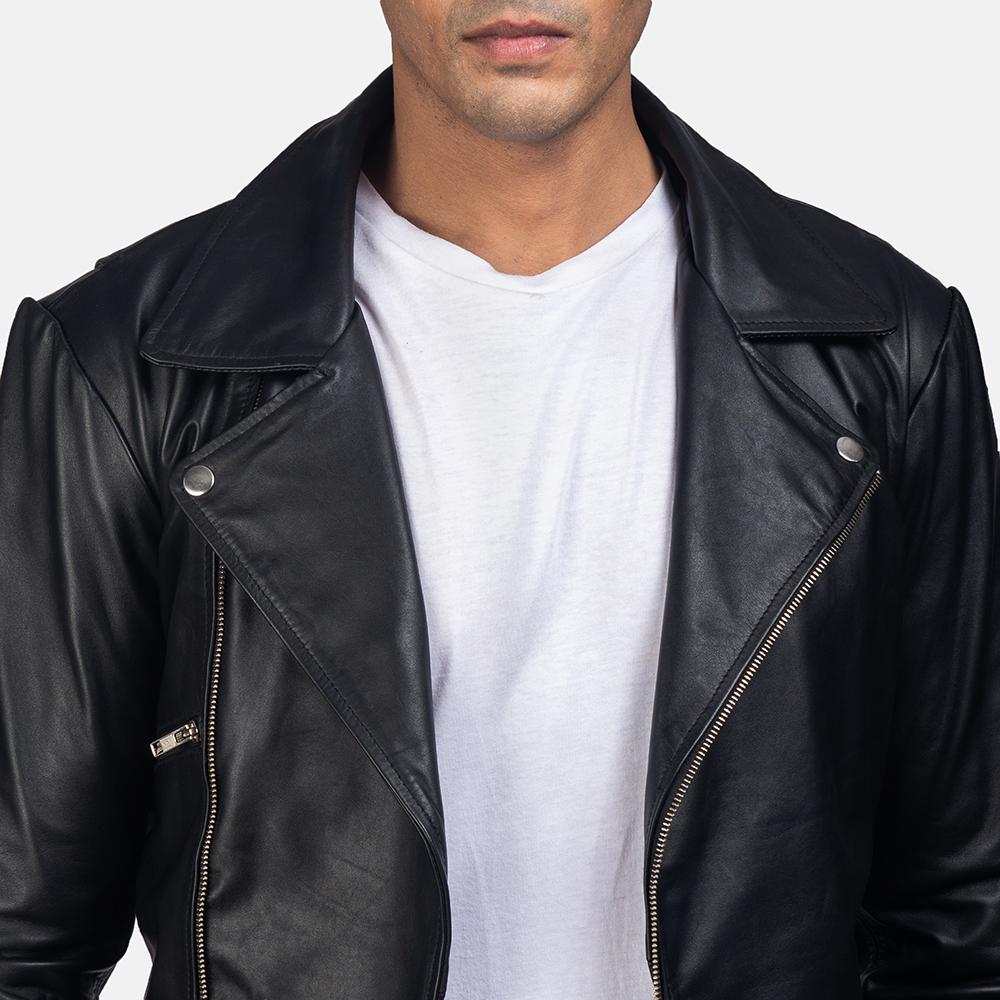 Mens Outlaw Black Leather Biker Jacket 6