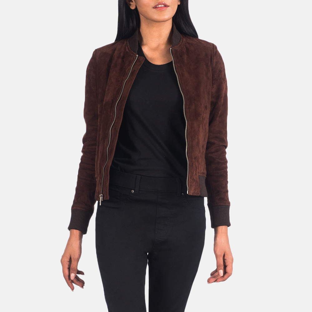Women's Bliss Brown Suede Bomber Jacket 3