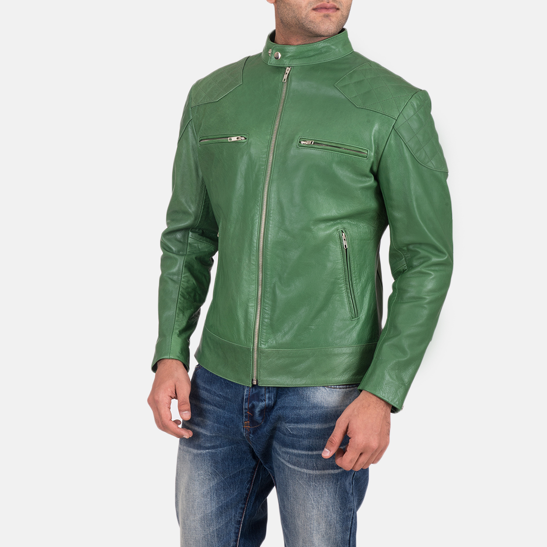 Mens Gatsby Green Leather Biker Jacket 3