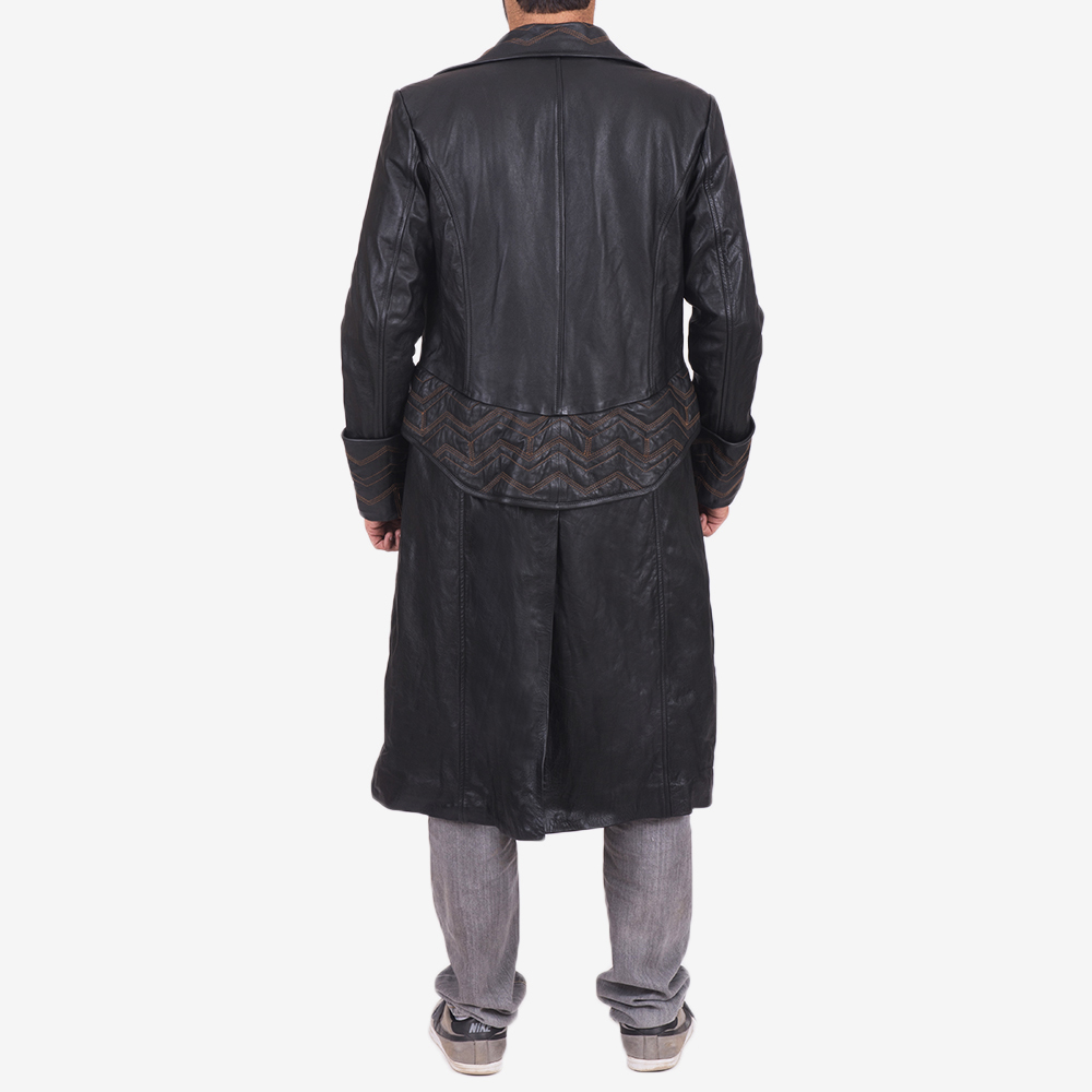 Mens Pirate Black Leather Coat 5