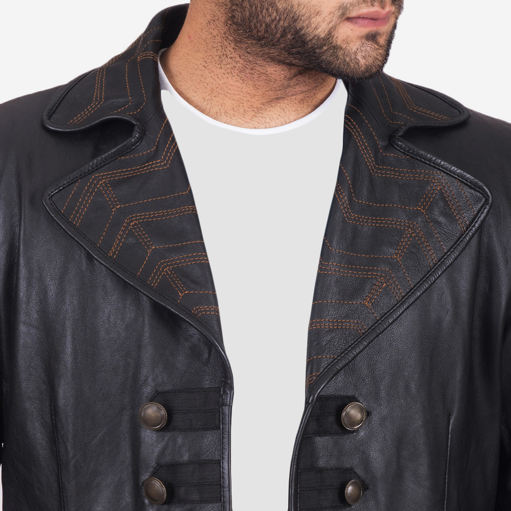 Mens Pirate Black Leather Coat 3