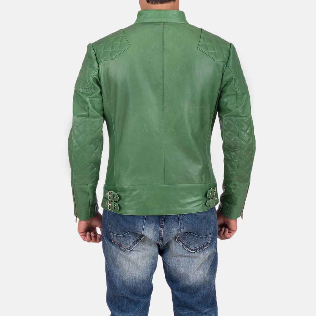 Mens Gatsby Green Leather Biker Jacket 5