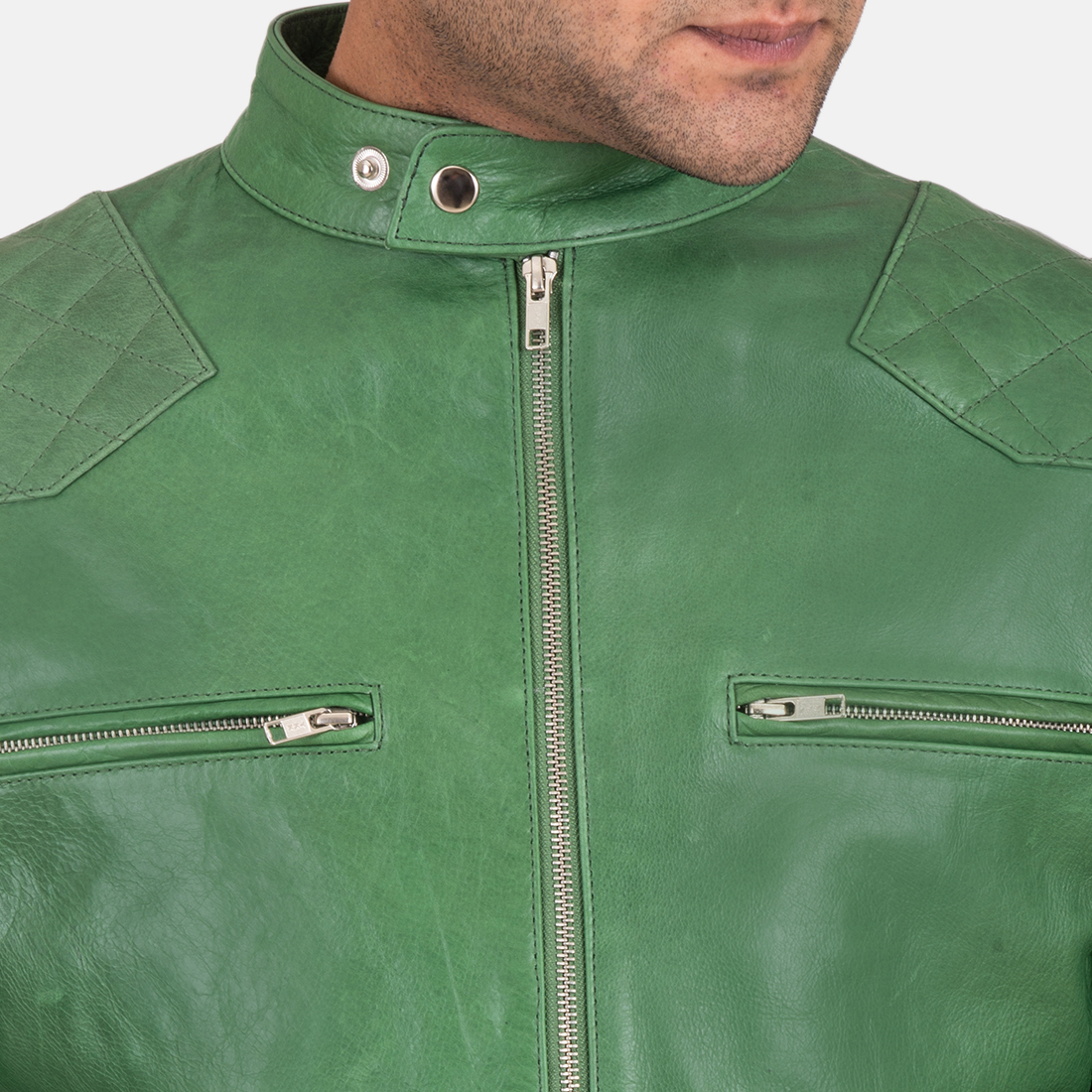 Mens Gatsby Green Leather Biker Jacket 6