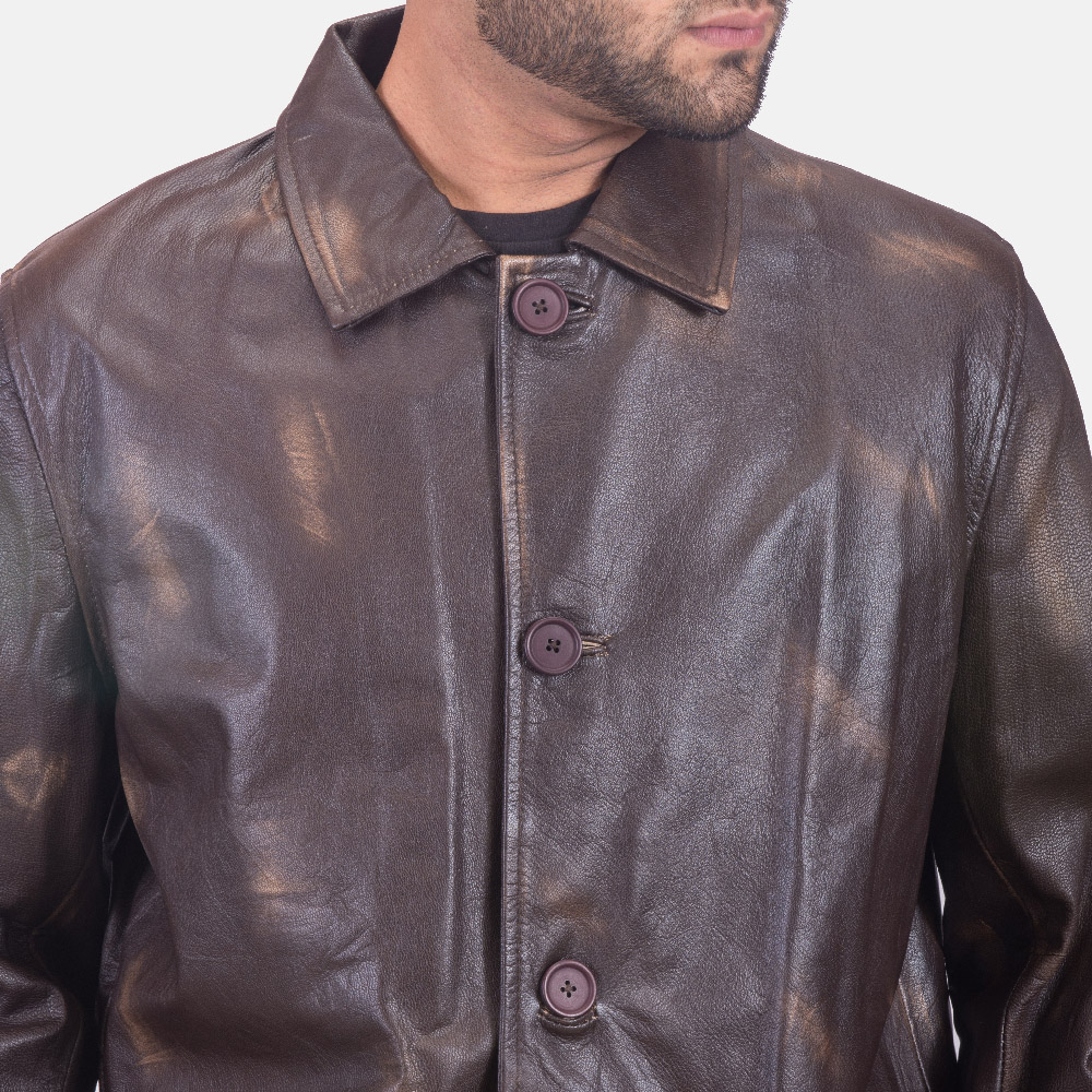 Mens Classmith Brown Leather Coat 3