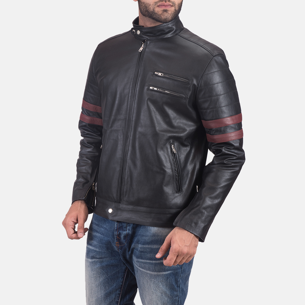 Monza Black & Maroon Leather Biker Jacket