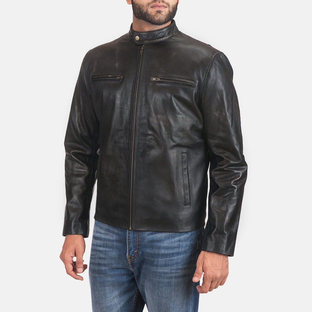 Mens Rustic Black Leather Biker Jacket 3