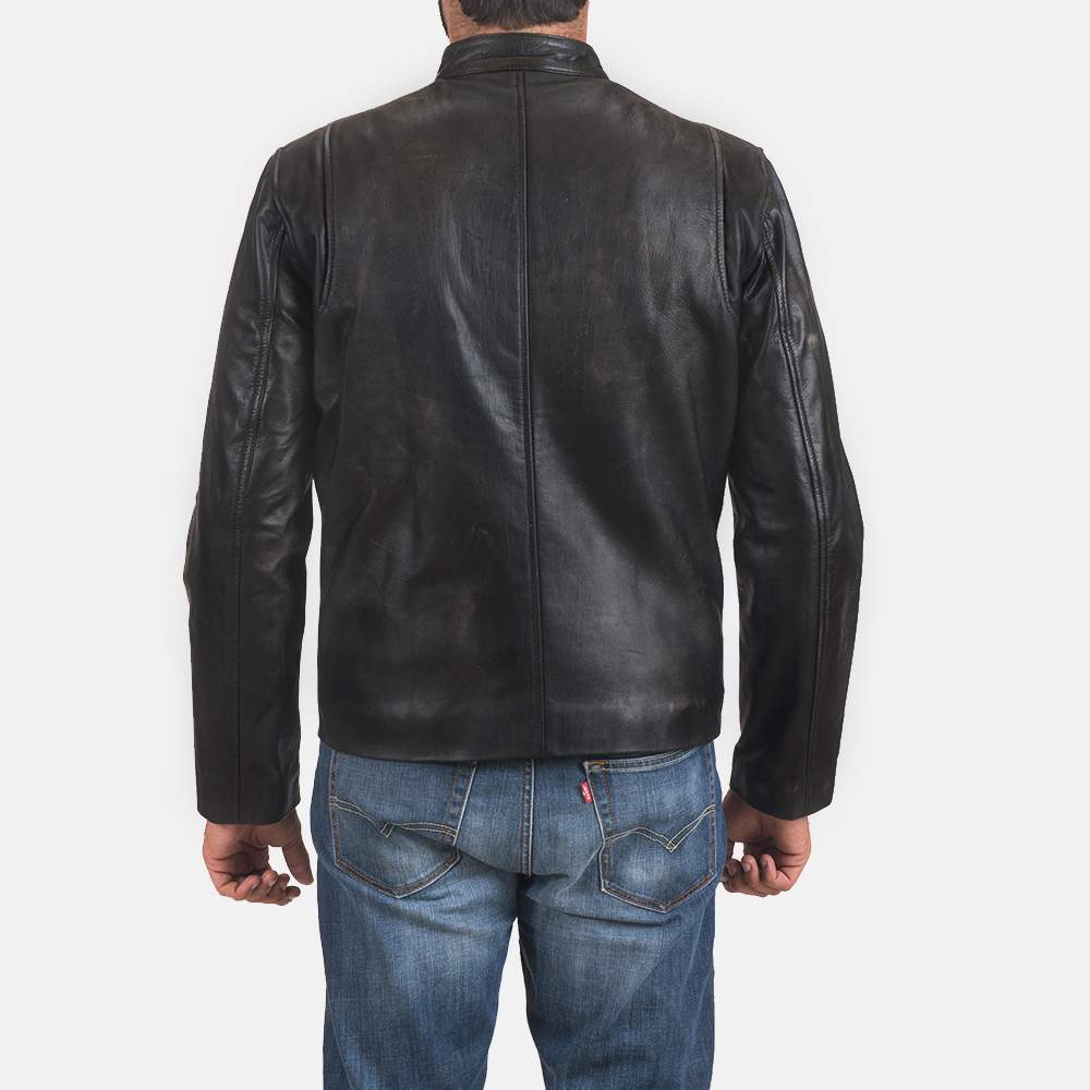 Mens Rustic Black Leather Biker Jacket 5