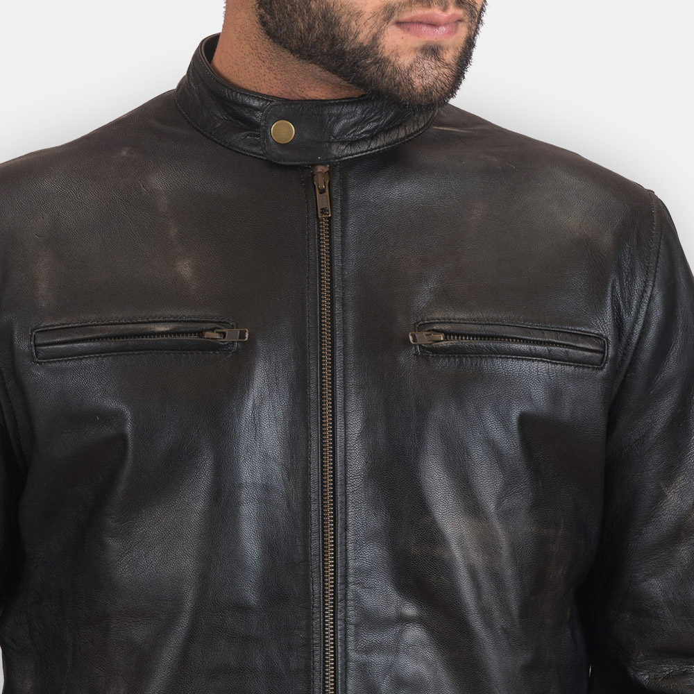 Mens Rustic Black Leather Biker Jacket 6
